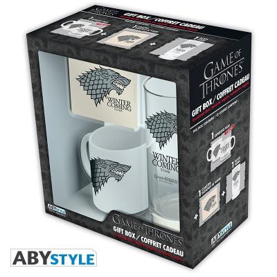 Game of Thrones Stark Geschenk-Box mit Glas Tasse und Untersetzer