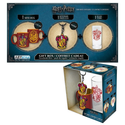 Harry Potter Gryffindor Geschenk-Box mit Glas Tasse und Schlüsselanhänger