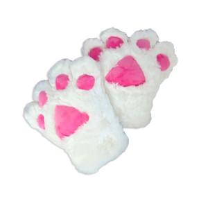 Catgirl Katzen Tatzen Paar (2 Cosplay Handschuhe weiß)